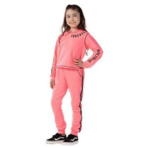 Conjunto infantil de moletom blusa e calça rosa neon