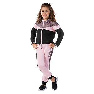 Conjunto infantil de moletom jaqueta e calça rosa e preto