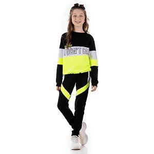 Conjunto infantil inverno moletinho blusa e calça preto e neon Tamanho 12