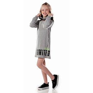 Vestido infantil casual inverno moletinho tela e capuz cinza Tamanho 8