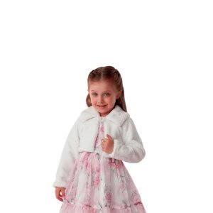 Bolero infantil Petit Cherie inverno pelinho off white Tamanho 1