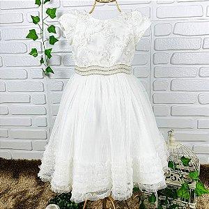Vestido infantil Petit Cherie batizado ou daminha tule e bordados