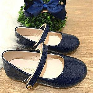 Sapato infantil boneca verniz azul marinho