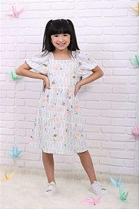 Vestido infantil Petit Cherie casual verão manga bufante azul