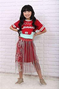 Conjunto infantil Petit Cherie verão blusa saia tule vermelho