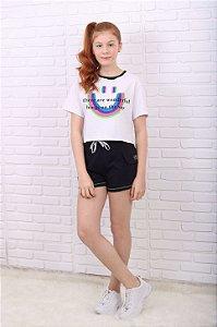 Conjunto teen Vanilla Cream verão t-shirt  e short moletom