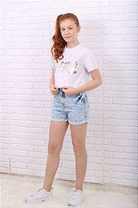 T-Shirt teen Vanilla Cream verão cropped girl paetê branca