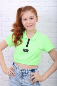 Cropped teen Vanilla Cream verão com zíper verde neon
