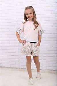 Conjunto infantil Petit Cherie verão blusa e short rosa floral