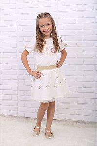 Conjunto infantil Petit Cherie blusa saia tule estrela off white