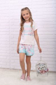 Conjunto Infantil Petit Cherie verão blusa e short fundo do mar