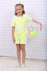 Conjunto infantil Petit Cherie blusa e short amarelo neon 1 ao 6