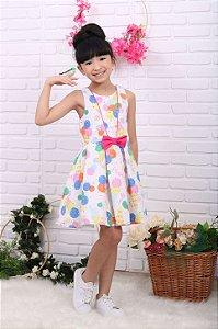 Vestido infantil Mon Sucré verão sorvete colorido