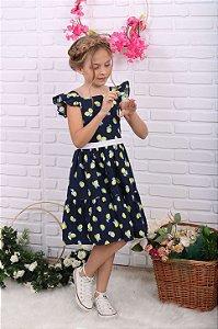 Vestido infantil Petit Cherie algodão orgânico limão marinho