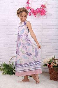 Vestido infantil Petit Cherie longo tule folhagens lilás