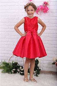 Vestido de festa infantil Petit Cherie renda vermelho