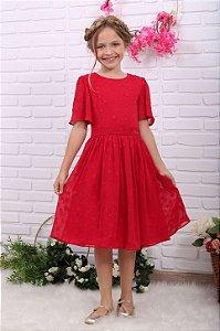 Vestido de Festa Infantil Petit Cherie fluido estrelas vermelho