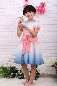 Vestido de festa infantil Petit Cherie candy color azul e rosa