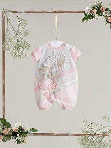 Macação bebê Petit Cherie verão ursa bailarina rosa