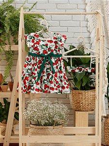 Vestido de bebê Petit Cherie algodão orgânico cerejinha vermelho