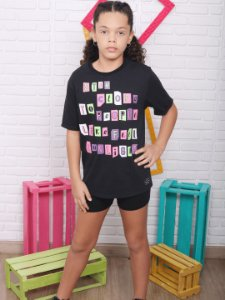 T-shirt Vanilla Cream camisetão lettering tumblr neon preta