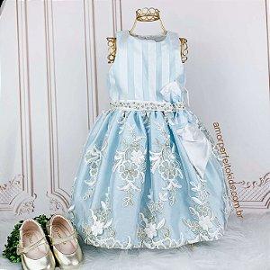Vestido de festa infantil Petit Cherie Azul Cinderela tamanho 2