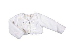 Bolero de Bebê Petit Cherie Pelo e Pedrinhas Branco Tamanho G