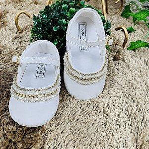 Sapato infantil batizado pérolas e strass branco Tamanho 20