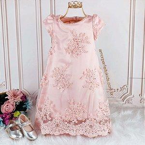 Vestido de festa infantil Petit Cherie renda bordada com pérolas luxo rosa