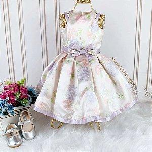 Vestido infantil de festa Petit Cherie rodado com estampa de hortências floral lilás