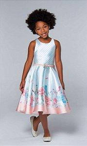 Vestido de festa infantil Petit Cherie midi com barrado flores libélulas com listras candy color