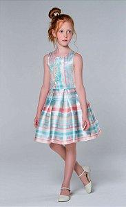 Vestido de festa infantil Petit Cherie listras formas geométricas Tam 8