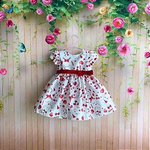 Vestido de festa bebê Petit Cherie pets cachorrinho gatinho e coração com laço vermelho e branco Tam M