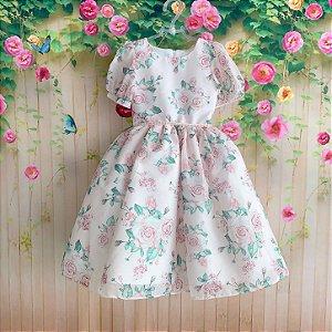 Vestido de festa infantil Petit Cherie midi floral rosa jardim encantado manga princesa Tam 2