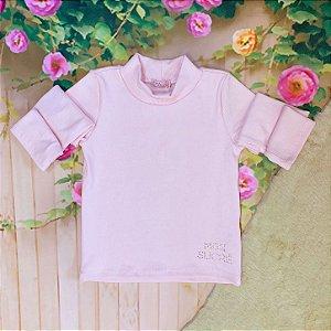 Blusa infantil Mon Sucré inverno ribana golinha alta rosa claro