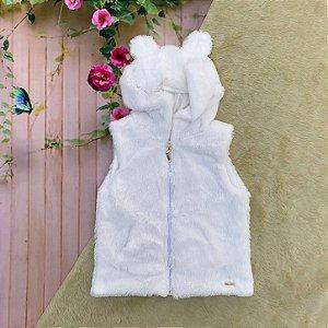 Colete infantil Mon Sucré inverno de pelinho com capuz de orelhinha branco