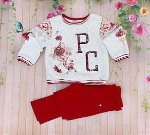 Calça infantil Petit Cherie menina com bolso falso com botões vermelha e rosa