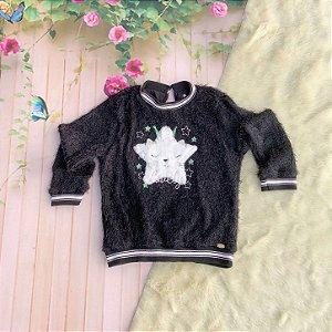 Blusa infantil Petit Cherie inverno pelinho estrela preta Tamanho 1