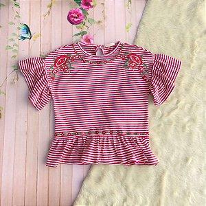 Blusa infantil Petit Cherie manga curta listrada vermelho Tamanho 10