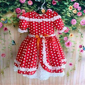 Vestido de festa junina infantil luxo com frufru bolinhas vermelho e branco Tamanho 8