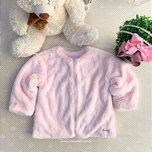 Casaco infantil Mon Sucré pelo sintético inverno rosa Tamanho 2