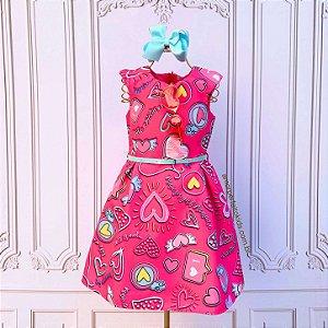 Vestido infantil casual Mon Sucré rede social corações pink Tam 2
