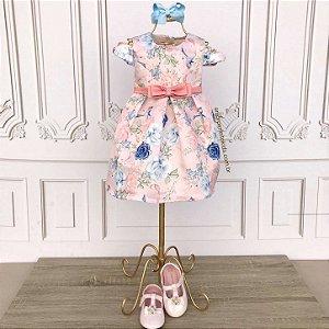 Vestido de festa bebê Petit Cherie jardim encantado rosa e azul tam P