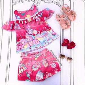 Conjunto infantil Mon Sucré blusa ciganinha doces donuts short saia pink Tamanho 2