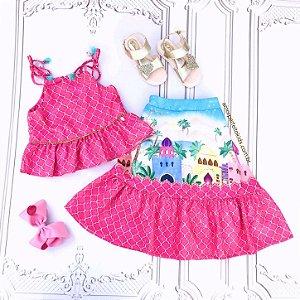 Conjunto infantil Mon Sucré Aladdin blusa alcinha saia longa Tamanho 10