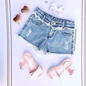 Short jeans infantil Mon Sucré desfiadinho