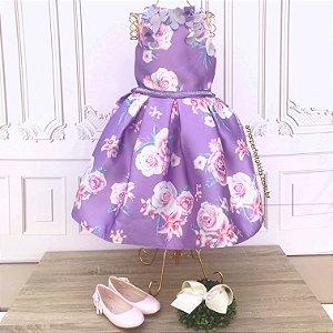 Vestido infantil Petit Cherie floral lilás Sofia com flores e borboletas 3D Tamanho 16