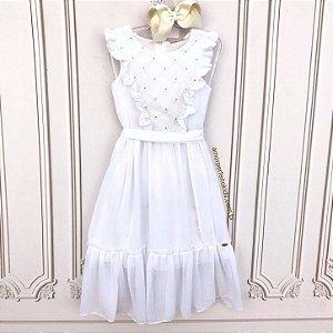 Vestido Branco Infantil Petit Cherie casual bordado Tamanho 6