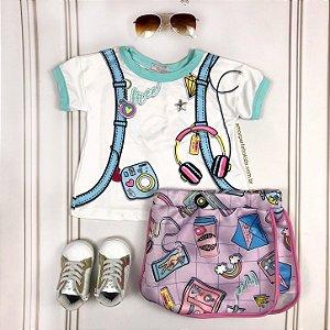 Conjunto infantil Mon Sucré blusa com mochila nas costas e saia branco e lilás
