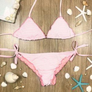 Biquíni teen Juréia ripple frufru listrado rosa e branco Tamanho 16